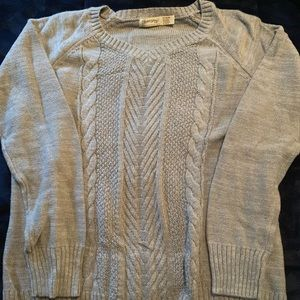 Gray with silver sparkle cable knit sweater